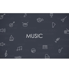 Music Thin Line Icons vector image