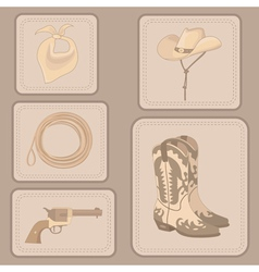 set of cowboy items vector image vector image