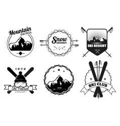 Ski resort emblems vector