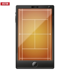 Smartphone with a tennis field on the screen vector image