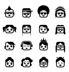 smiley faces woman characters vector image