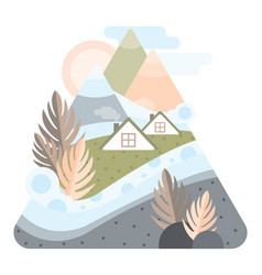 Abstract high mountains with houses of iceland vector