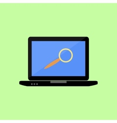 Flat style lalptop with magnifying glass vector image