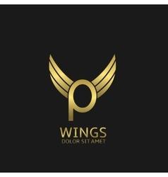 Golden P letter logo vector image