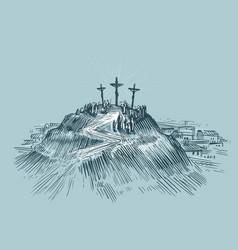 jesus on cross mount golgotha art sketch vector image