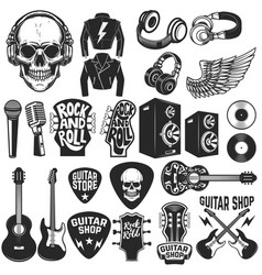 set of the rock music design elements guitar shop vector image vector image