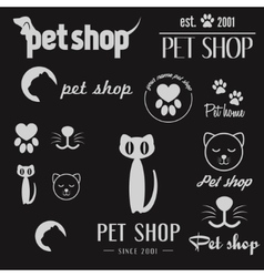 Set of vintage logo and logotype elements for pet vector image