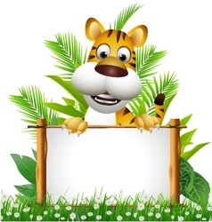 tiger cartoon with blank sign vector image