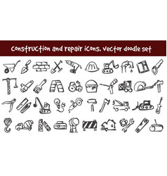 doodle construction and repair icons set vector image vector image