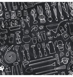 Spring garden doodle seamless patternChalk Tools vector image