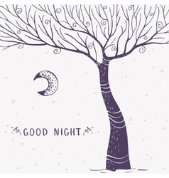 tree silhouette night vector image vector image