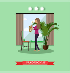 woman playing saxophone in vector image