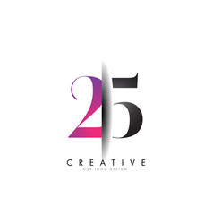 24 2 4 grey and pink number logo with creative vector image