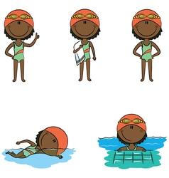 African-American swimmer girls vector