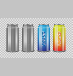 aluminum can empty and with label realistic can vector image