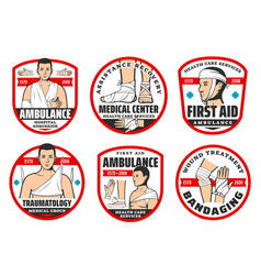 Ambulance traumatology first aid medical icons vector