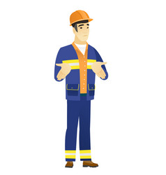 asian confused builder shrugging shoulders vector image