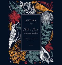 autumn card design with wild birds elegant vector image