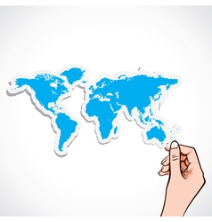 Blue map icon in hand vector