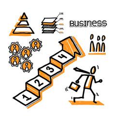 Business infographics stick business man running vector