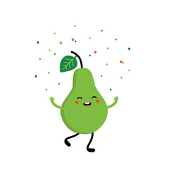 Cartoon green pear character throwing up confetti vector