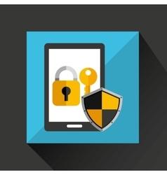 Cartoon smartphone black with lock key security vector