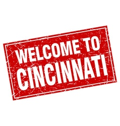 Cincinnati red square grunge welcome to stamp vector