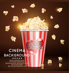 Cinema background with realistic popcorn vector