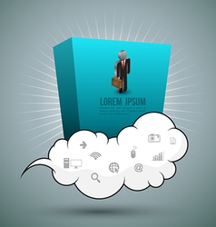 Cloud and rectangle with business man vector