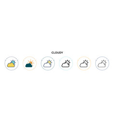cloudy icon in filled thin line outline and vector image