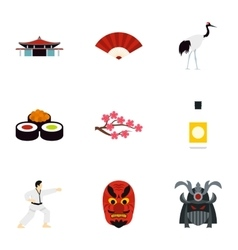 Country Japan icons set flat style vector
