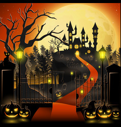 Creepy graveyard with castle and pumpkins vector