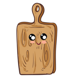 Cutting board with face character hand drawn vector