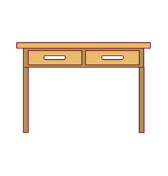 Desk table with drawers front view icon colorful vector
