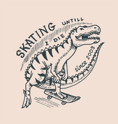 dinosaur on a skateboard label for typography vector image