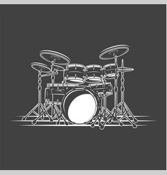 Drums isolated on a black background vector