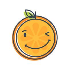 emoji - winking orange with happy smile isolated vector image