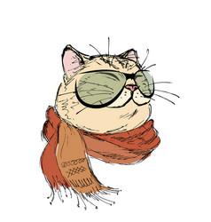 Fashion portrait kitten boy cat with bow tie vector