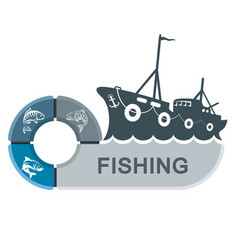 Fishing trawler with infographics vector