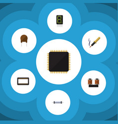 Flat icon technology set of mainframe cpu vector