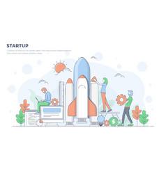 flat line modern concept - startup vector image