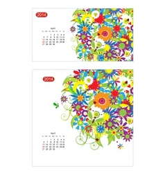 Floral calendar 2014 april Design for two size of vector image vector image