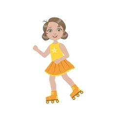 Girl Roller Skating Outdoors vector image