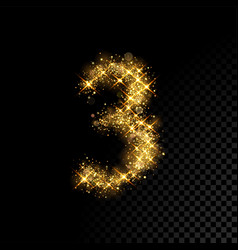 Gold glittering number three 3 on black background vector