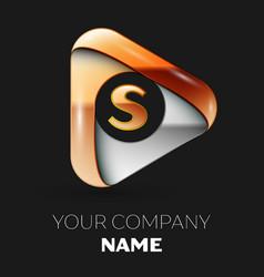 Golden letter s logo in golden-silver triangle vector