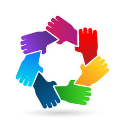Group of protecting hands icon vector