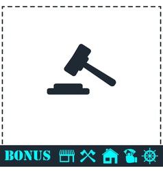 Hammer judge icon flat vector image