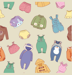 Hand drawn clothes for little baby boys and girls vector
