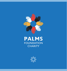 hand palms friendship icon care foundation charity vector image