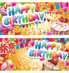 Happy birthday horizontal cards vector